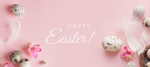 Easter Background With Quail Eggs And Willow Branches On Pink Background. Horizontal Banner Background