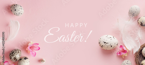 Fotografie, Obraz easter background with quail eggs and willow branches on pink background