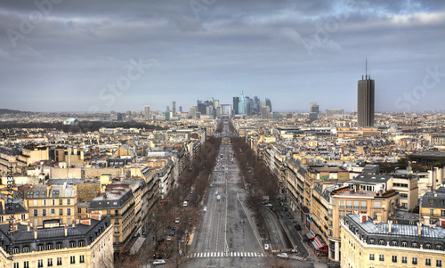 Valokuva Panoramic view of Paris from the Arc de Triomphe