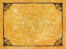 Jugendstil Viktorianisch Floral Ornament Hintergrund Gelb Gold Rahmen Schwarz Textil Wand Antik Altes Papier Vorlage Layout Design Template Geschenk Zeitlos Schön Alt Barock Edel Rokoko Background