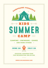 Kids Summer Camp Poster Or Flyer Event Retro Typography Design Template And Forest Lanscape And Tent Background
