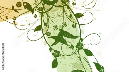Green Floral Cross made with bevel and  emboss effect Fototapet