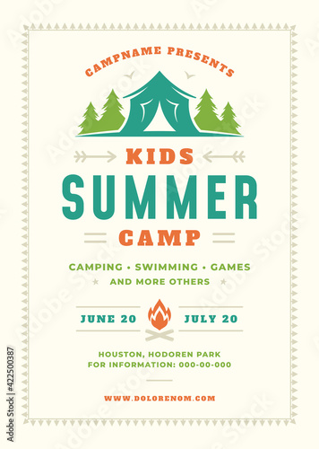 Kids summer camp poster or flyer event retro typography design template and fore Fotobehang