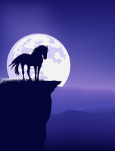 Wild Mustang Horse Standing At Mountain Cliff Against Full Moon - Fairy Tale Stallion Silhouette And Night Landscape Vector Design