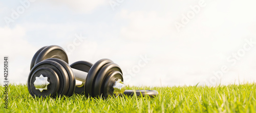 Obraz dumbbells stacked on grass in a park. outdoor exercise - fototapety do salonu