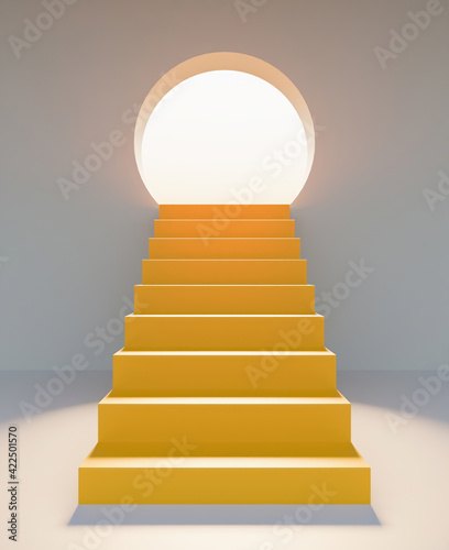 stairs in front with a round door illuminated