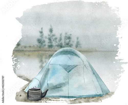 Obraz na plátně Watercolor illustration of a camping tent. Travel outdoor.