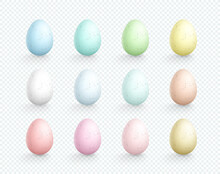 Easter Eggs Vector Element Speckled Colors Set 3d Isolated