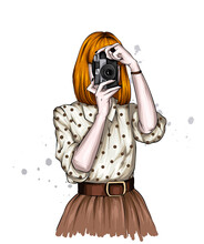 A Girl In A Beautiful Blouse And Skirt And With A Vintage Camera. Illustration For A Postcard Or Poster. Fashion And Style, Clothing And Accessories. Retro.