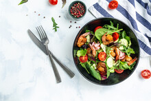 Seafood Salad With Smoked Shrimps, Cherry Tomatoes, Cucumber And Mixed Leaves. Banner, Menu Recipe Place For Text, Top View