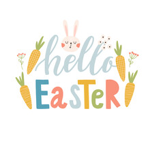 Happy Easter Label. Greeting Logo. Traditional Symbolic