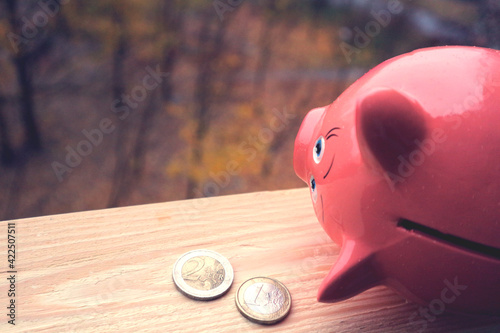 Photo Money for a rainy day. Piggy bank and two euro coins.