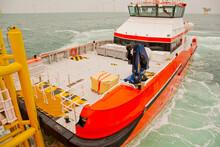 Crew Transfer Vessel On Docking Station Of Parent Vessel