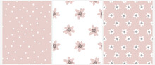 Cute Hand Drawn Irregular Floral Vector Patterns With White Tiny Flowers Isolated On A Pastel Pink Background. Funny Infantile Style Garden Print Ideal For Fabric, Textile. Pink Petals On A White.