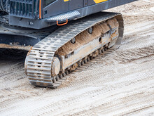 Continuous Tracks On A Heavy Excavator Digger Machine With Track Detail