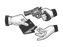 Robbery With A Gun Sketch Raster Illustration
