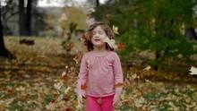 A Cute Little Girl Throws Autumn Leaves On Her Head.