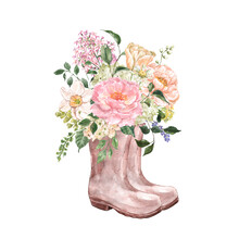 Watercolor Garden Boots With Flowers Composition. Hand Painted Rain Boots With Beautiful Spring Floral Bouquet, Isolated On White Background. Botanical Illustration.