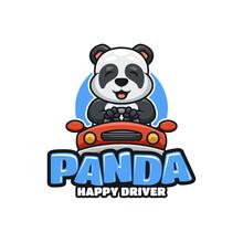 Illustrative Cartoon Logo With Happy Panda Driving Car