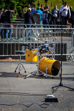 Yellow Drum Kit Outdoors