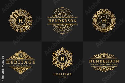 Fototapeta Luxury logos and monograms crest design templates set vector illustration. obraz