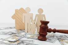 Family Figure With Judge Gavel And House. Family Law