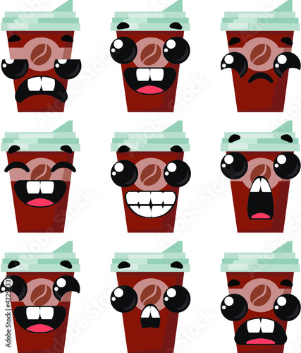 Set of coffee glasses with different emotions. Vector illustration in cartoon childish style.