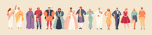 Development Of Fashion From Ancient Times To The Present. Clothes And Costume History Vector Illustration