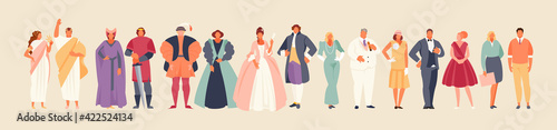 Fototapeta Development of fashion from ancient times to the present. Clothes and costume history vector illustration obraz