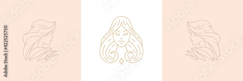 Obraz na plátně Magic female enchantresses in boho linear style vector illustrations set