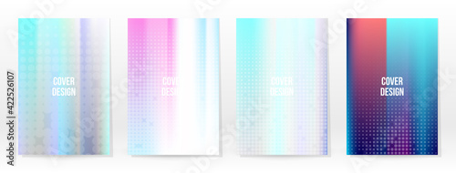 Fototapeta Holographic Poster Set Iridescent Technology Cover obraz