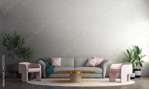 Modern decoration mock up interior design of living room and concrete wall pattern background, 3D rendering