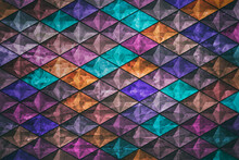 Retro Template. Geometric Design. Colorful Mosaic Geometric Shapes Background Made Of Blue, Pink, Purple, Turquoise, Orange Triangles.