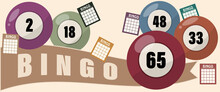 Bingo Lotto Game Balls And Lottery Cards With Lucky Numbers Vector, Vintage Design