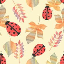 Watercolor Seamless Pattern. Botanical Background With Ladybugs, Leaves, Branches And Herbs. Design Elements, Ladybirds. Perfect For Textile, Packing, Fabric, Invitations, Cards.