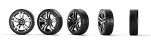 Five Car Wheels On A White Background. 3D Rendering Illustration.
