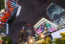 Night View Of The Xinyi District In Taipei, Taiwan. The District Is A Prime Shopping Area In Taipei, Anchored By A Number Of Department Stores And Malls.