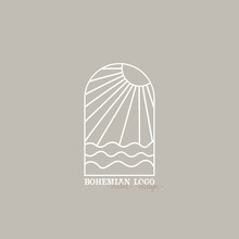 Bohemian Logo Line. Modern Minimalism Style. Phases Of The Moon And The Sun. Lunar Eclipse And New Moon. Botanical Frame. Ideal For Packaging Design
