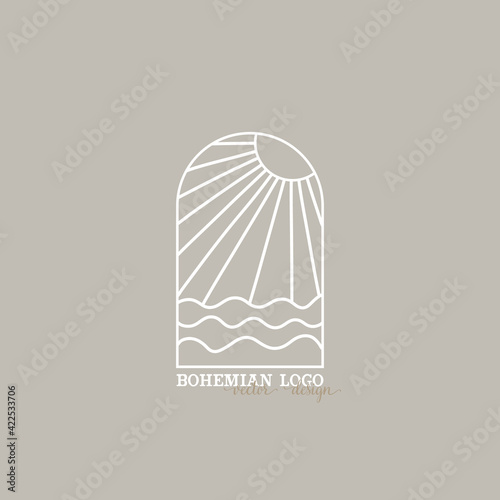 Fototapeta bohemian logo line. modern minimalism style. phases of the moon and the sun. lunar eclipse and new moon. botanical frame. ideal for packaging design obraz