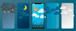 Weather forecast app widget set. Vector illustration. Daily application template with paper cut climate icons. Thunderstorm, rain, sunny day, night and winter snow. Vector