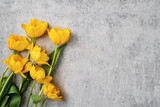 Fototapeta Tulipany - Concept of Mother's day holiday greeting with yellow tulip bouquet on gray background