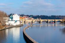 Prague Cityscape With Vltava River