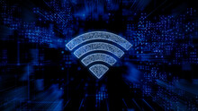 Wireless Technology Concept With Wifi Symbol Against A Futuristic, Blue Digital Grid Background. Network Tech Wallpaper. 3D Render