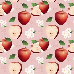 Powtarzalny wzór złożony z połowy i całego jabłka, kwiatów i liści na jasnym, czerwonym tle.