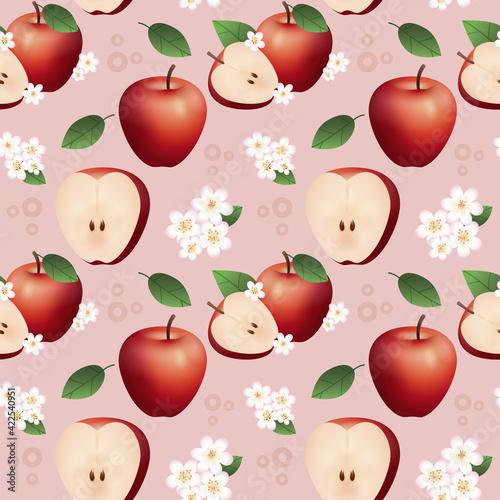 Fototapeta Powtarzalny wzór złożony z połowy i całego jabłka, kwiatów i liści na jasnym, czerwonym tle. obraz