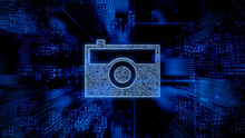 Photo Technology Concept With Camera Symbol Against A Futuristic, Blue Digital Grid Background. Network Tech Wallpaper. 3D Render