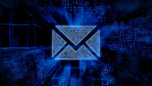 Email Technology Concept With Envelope Symbol Against A Futuristic, Blue Digital Grid Background. Network Tech Wallpaper. 3D Render