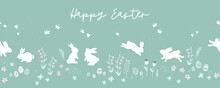 Lovely Hand Drawn Easter Bunnies Seamless Pattern, Cute Rabbits, Springs Flowers And Easter Eggs - Great For Textiles, Banners, Wallpapers, Wrapping, Cards - Vector Design