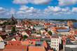 canvas print picture - Blick über die Dächer der Hansestadt Rostock