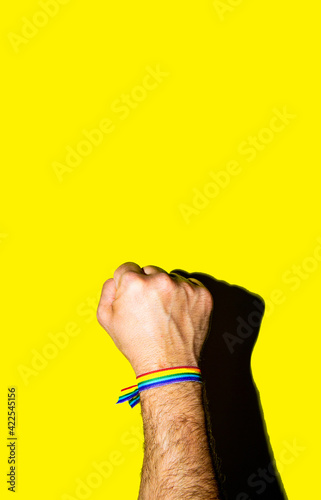 A man's fist held high with a bracelet in the colors of the gay flag Poster Mural XXL